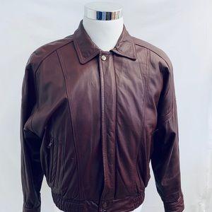 Leather Jacket Thinsulate M Bomber Maroon Zip  O48